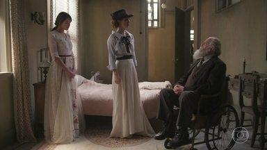 O Barão aprova o casamento de Ema e Edmundo - Ludmila questiona o nobre por estar mais preocupado com o dinheiro do que com a felicidade da neta. Ema afirma à amiga que está feliz com o acordo