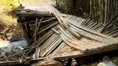 Queda de ponte causa transtornos a moradores de Santo Expedito - Dispositivo liga a cidade a propriedades rurais.