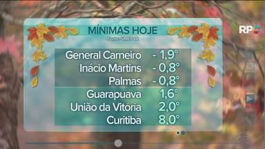 Frio com temperatura abaixo de zero no Paraná - A umidade fica alta e o frio continua.