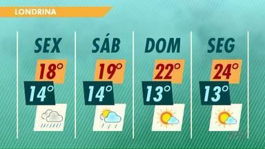 Chuva deve aumentar em Londrina nesta sexta-feira (15) - Já a temperatura mínima não diminui, fica em torno de 14 graus.