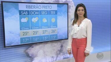 Veja a previsão do tempo para este sábado (16) na região de Ribeirão Preto - Em Bebedouro, a mínima esperada é de 17°C.