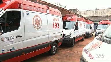 Quatro ambulâncias novas do SAMU estão paradas em Londrina desde maio - O problema é que os veículos ainda não tem seguro contra acidentes. As ambulâncias foram enviadas pelo Ministério da Saúde.