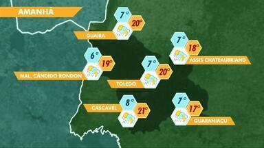Sábado será gelado e com chuva em Cascavel - O sol volta a aparecer no domingo e as temperaturas sobem um pouco.