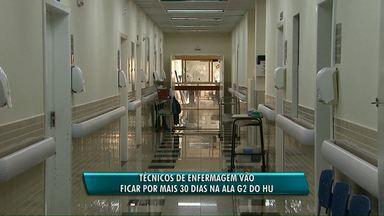 Técnicos de Enfermagem vão ficar mais 30 dias na Ala G2 do Hospital Universitário - Os dez técnicos foram cedidos pela prefeitura de Cascavel. O novo prazo termina no dia 02 de agosto.