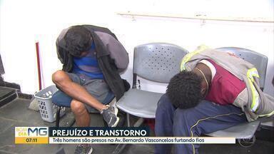 Três são presos suspeitos de furtar fios em Belo Horizonte - Crime ocorreu no bairro Santa Cruz.