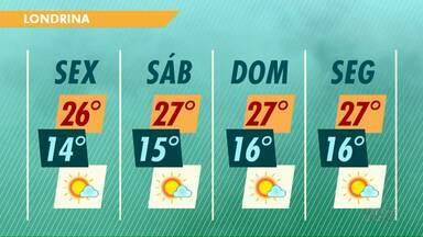 Meteorologia prevê fim de semana ensolarado na região de Londrina - Os termômetros devem atingir 27 graus no sábado e no domingo.