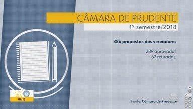 Quase 700 projetos foram apresentados à Câmara Municipal de Presidente Prudente - Números são referentes ao primeiro semestre de 2018.