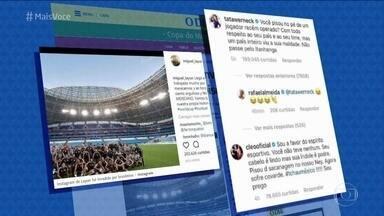 Nas redes sociais, famosos reclamam de pisada de jogador mexicano em Neymar - Ana Maria Braga também brinca com Fernanda Gentil sobre a amizade virtual da jornalista com Gisele Bündchen