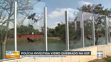 Polícia investiga mais uma placa de vidro quebrada do muro da USP - Caso foi registrado como dano ao patrimônio.