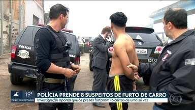 Polícia Civil de Mogi das Cruzes prendeu, na Capital, 8 homens suspeitos de furtar carros - Quadrilha era especializada em roubar carros importados e levá-los para desmanches. Criminosos furtaram 16 veículos de locadora de automóveis em uma só ação.