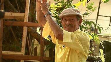 Idoso de 79 anos de Ponta Grossa sobe em árvore para pendurar bandeira do Brasil - Para demonstrar o amor que tem pela seleção, ele subiu alto.