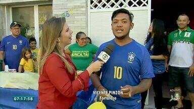 Torcida já animada para jogo entre Brasil e Bélgica no Vicente Pinzon - Saiba mais em g1.com.br/ce
