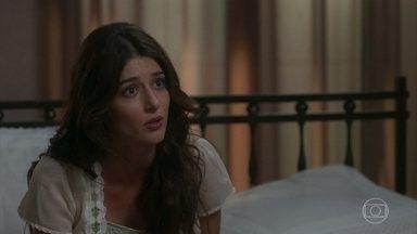 Cecília conta a Rômulo que Fani salvou sua vida - A jovem Benedito revela que caiu no lago durante um passeio com Tibúrcio e deixa Rômulo possesso ao saber das ameaças do pai contra sua mulher