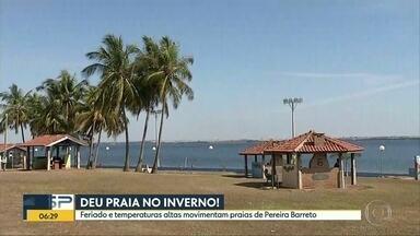 Pereira Barreto registra temperaturas de verão em pleno inverno - Praias formadas pelo rio Tietê devem atrair um grande público na cidade que fica na divisa com o Mato Grosso do Sul.