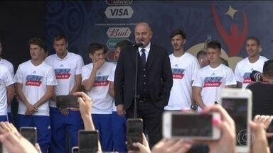 Seleção russa é festejada pela torcida mesmo com eliminação - Seleção russa é festejada pela torcida mesmo com eliminação