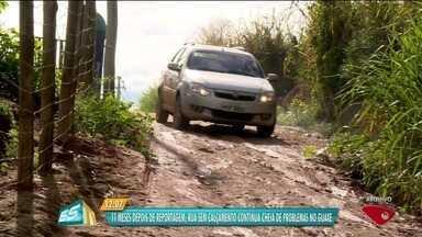 Rua sem calçamento no interior de Linhares, no Norte do ES, causa transtornos - Moradores cobram solução.
