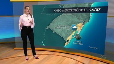 Tempo: quinta-feira (26) será de chuva na maior parte do RS - Veja como fica a previsão.