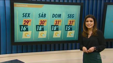 Sexta-feira deve ser quente em Maringá - Confira a previsão do tempo para Maringá e região.