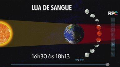 """Semana termina com tempo firme na maior parte do Paraná - O fenômeno """"Lua de Sangue"""" pode ser visto nesta sexta (27)."""
