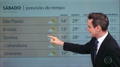 Sábado será de sol em todo o Estado - No domingo, chove no litoral e na Grande SP.