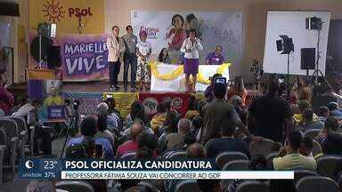 PSOL oficializa candidatura ao governo do DF - Durante a convenção regional, o partido oficializou o nome da professora Fátima Souza que vai concorrer ao Buriti. A vice será a assistente social Keka Bagno.