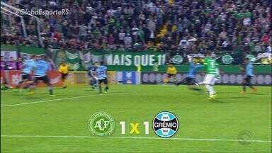 Grêmio empata com Chapecoense e valoriza ponto ganho fora de casa - Partida ficou 1 a 1, em Chapecó.