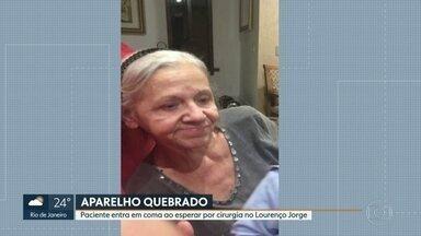 Paciente entra em coma ao esperar por cirurgia no Hospital Lourenço Jorge - Dona Regina, tem 73 anos, e, enquanto aguardava a operação, pegou uma infecção hospitalar e entrou em coma. O aparelho estava quebrado há, pelo menos, três meses.
