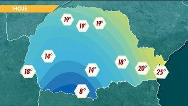 Temperaturas não devem subir muito na tarde desta quinta-feira - A máxima em Cascavel não deve passar dos 14 graus.
