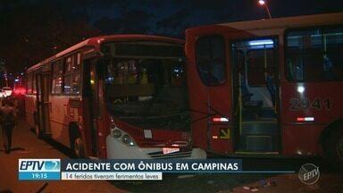 Batida entre ônibus deixa 14 feridos em avenida de Campinas - Colisão ocorreu na tarde desta quinta-feira (9).