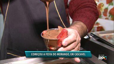 Começa a festa do morango em Cascavel - Mais de trinta expositores oferecem produtos variados feitos com a fruta.