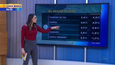 Tempo: ainda há possibilidade de neve em São José dos Ausentes nesta sexta (10) - Vento forte causa temperaturas negativas em várias cidades do RS.