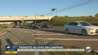 Fechamento de alça de acesso da Rodovia Dom Pedro I em Campinas é definitivo - Acesso próximo à Avenida Mackenzie está fechado há dois anos, mas interdição ainda confunde os motoristas.