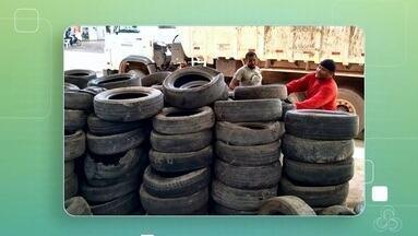 Cerca de 10 toneladas de pneus usados foram recolhidos na capital, no AP - Ação faz parte de um projeto sócio ambiental do município que existe desde 2017 em parceria com uma empresa de reciclagem