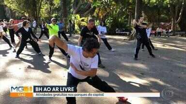 Parques de Belo Horizonte recebem aulas de várias modalidades no fim de semana - Ações são gratuitas e atraem a comunidade e quem passa pelos espaços.