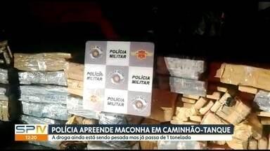 A Polícia Rodoviária Estadual apreendeu mais de uma tonelada de maconha na Castello Branco - A droga estava num caminhão-tanque. O motorista foi preso em flagrante.