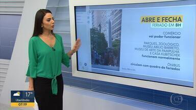 Veja o que abre e o que fecha no feriado em Belo Horizonte nesta quarta-feira - Lojas têm ponto facultativo e bancos não funcionam.