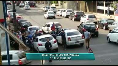 Duas pessoas foram atropeladas em uma calçada em Foz - Uma delas teve ferimentos leves