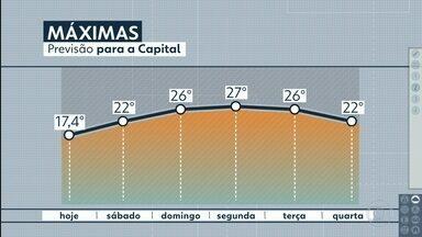 Sábado deve ter mínima de 14ºC na Capital - No domingo, máxima deve chegar a 26ºC. Temperaturas mais elevadas vão até terça.