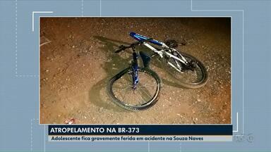 Adolescente de 15 anos fica gravemente ferida em acidente na Souza Naves - Ela estava empurrando uma bicicleta quando foi atingida por um carro.