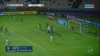 Guarani vence o Sampaio Corrêa por 2 a 0 pela série B do Campeonato Brasileiro - Após conquistar os três pontos da rodada, o Bugre se aproxima das primeiras colocações da tabela.