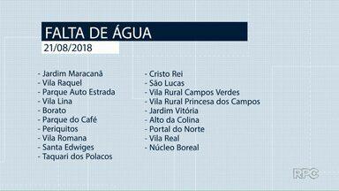 Tem falta de água nesta terça-feira (21) em Ponta Grossa - Veja quais regiões vão ficar sem abastecimento.