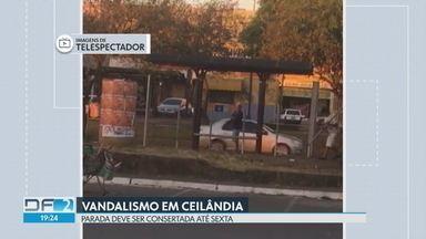 Vândalos destroem parada de ônibus - Flagrante chegou pelo whatsapp e foi registrado em Ceilândia. Telespectador diz que dois homens arrancaram ferros de uma estrutura para vidro.