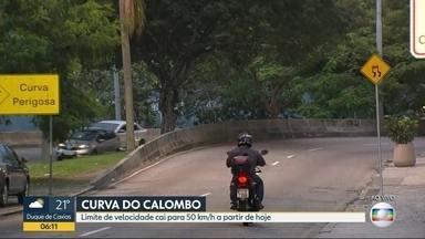 Limite de velocidade é reduzido na Curva do Calombo - Máximo permitido, agora, é de 50 km/h.