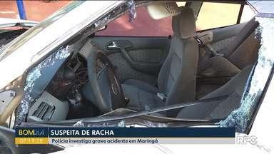 Polícia suspeita que racha causou acidente violento em Maringá - Os policiais trabalham para identificar os suspeitos.