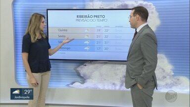 Confira a previsão do tempo para quarta-feira (22) em Ribeirão Preto - Temperatura máxima pode chegar a 31°C.