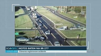 Duas motos batem na BR 277 - Acidente foi em Cascavel.
