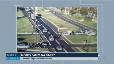 Motociclista é atingido por outra moto ao cruzar rodovia - Câmeras de segurança flagraram o acidente na BR-277, na região de Cascavel.