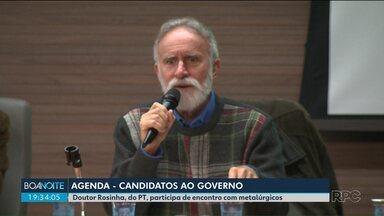 Confira a agenda dos candidatos ao governo do Paraná - Dr. Rosinha participa de encontro com metalúrgicos. Ratinho Jr., Cida Borghetti e João Arruda não tiveram agenda externa nesta tarde.