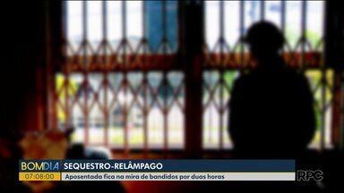 Aposentada fica na mira de bandidos por duas horas - O sequestro-relâmpago aconteceu em Curitiba.