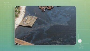 Pelo menos 3 comunidades foram afetadas por vazamento de óleo no Rio Negro, diz Ipaam - Vazamento ocorreu após naufrágio de embarcação. Óleo já atingiu cerca de 10 km da orla do Rio Negro.